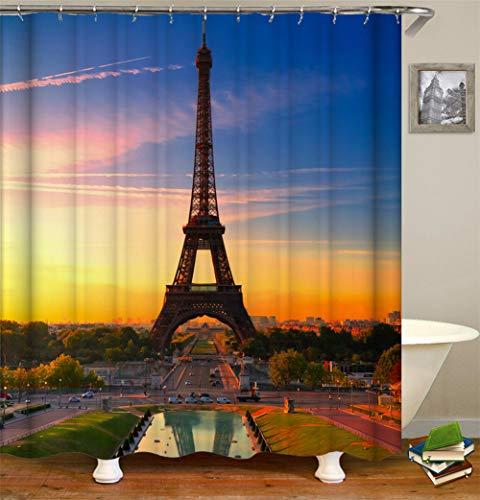 Twee rode en blauwe hemel. Eiffeltoren. Auto's op de weg. Douchegordijn. Waterdicht. Eenvoudig te reinigen. 180 x 180 cm.