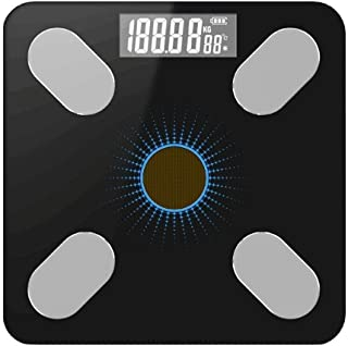CS-YZC Bluetooth Scale Ground Science Body Fat Scale Light Energy Charging Intelligent Electronic Digital Weight Bathroom Scale durable (Color : Blue) scales for body weight (Color : Blue)