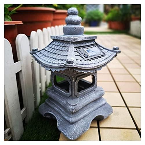 Luces Solares de Jardín Decoración asiática Estatuas y esculturas de jardín al aire libre de la Pagoda de la linterna de la decoración asiática, escultura sagrada de jardín a prueba de agua, estatuill