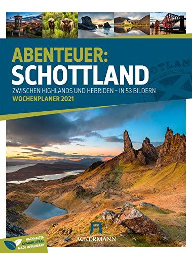 Schottland - Wochenplaner Kalender 2021, Wandkalender im Hochformat (25x33 cm) - Wochenkalender mit Rätseln und Sudokus auf der Rückseite
