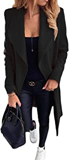 Macondoo Womens Basic Lapel Outwear Woolen Blend Open Front Pea Coat