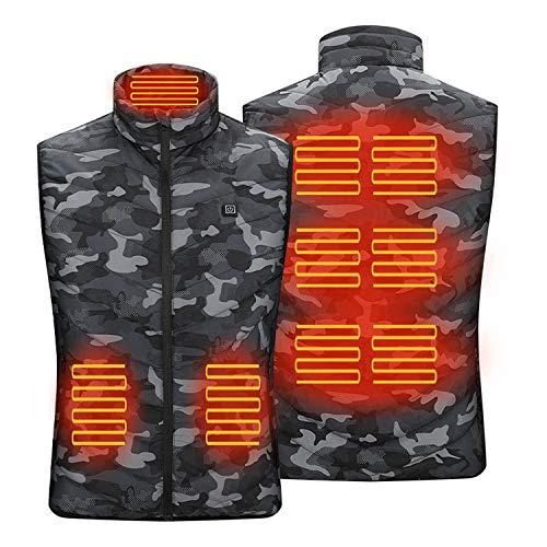 Tarnbekleidung elektrische Heizung Freizeit Baumwolle Weste, Freizeit 5V Sicherheitsspannung kann gewaschen Werden, Geeignet für den Außenbereich (Unisex) Camouflage-M