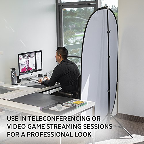 Fovitec Reversible Black and White Double-Sided Muslin Pop-Up Backdrop 5'x6.5' for Headshot and Portrait Photography, Vlogging and Video Conferencing