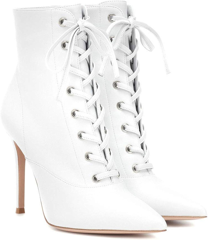 FTTHOU damen High Heel Pointed Ankle Stiefel Schnüren Sich Sich Oben Zipper Stiefelies PU Mode Ritter Stiefel Party Schuhe  Schnelle Lieferung und kostenloser Versand für alle Bestellungen