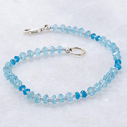 LOVEKUSH Apatite Bracelet, Daintly Bracelet, Gemstone Bracelet, Blue Beaded Bracelet, Stacking Bracelet 3mm Code- WAR6513