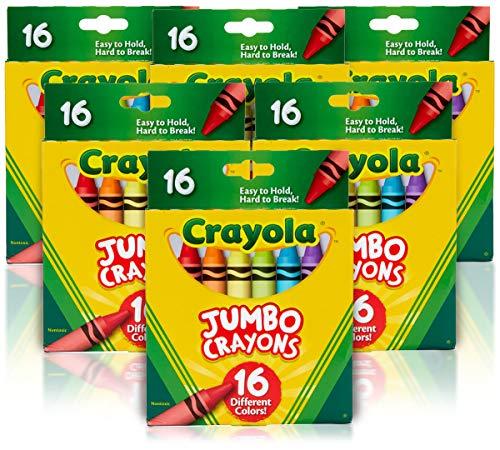 Crayola Jumbo Crayons, 6 Sets of 16 Large Crayons, Amazon Exclusive