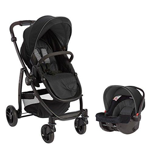 Graco Evo Travel System, 2-in1-Kinderwagen-Set mit Sportwagen Graco Evo und Babyschale Graco SnugRide, ab Geburt, 0-15 kg, inkl. Fußsack und Regenverdeck, Einhand-Faltmechanismus, Black/Grey