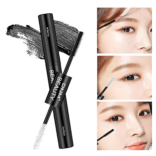 4D Silk Grafting Mascara with Fiber,Double-end Waterproof and Smudge-proof Effect for Eyelashes Makeup ROMANTIC BEAR (Noir) (A1)
