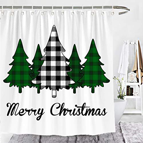 Wencal Merry Christmas Buffalo Check Plaid Trees Shower Curtain Farmhouse Bathroom Decor with Hooks Black White - 72 x72 Inches