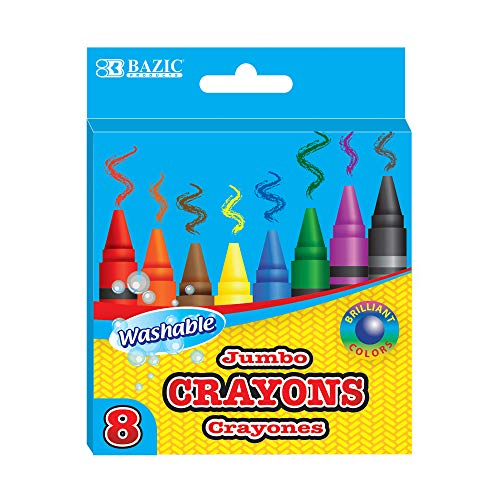 BAZIC 8 Color Washable Premium Jumbo Crayons, Coloring Set, School Art Creative Gift for Kids Age 3+, 1-Pack
