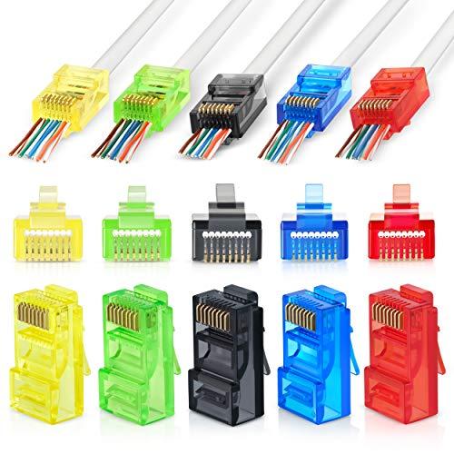 RJ45 Cat6 Pass Through Connectors Assorted Colors - 100 Pcs | Ez Crimp UTP Connector