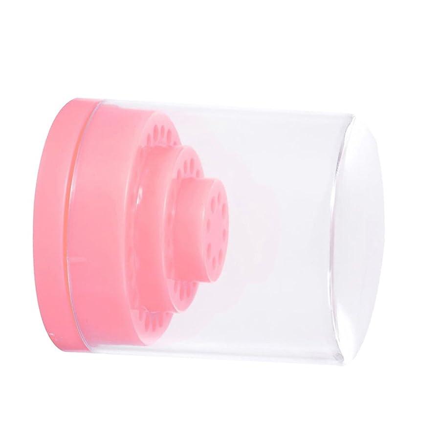 起こる眠り率直なPerfk ピンク 収納ボックス ネイル修整工具 収納ボック 爪美容ツール スホルダー 48穴