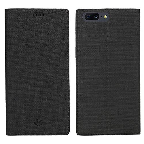 Simicoo OnePlus 5 Leder Tasche Flip klappbares Handyhülle Standfunktion Kartenfach Magnetverschluß TPU Stoßstange Wallet Schutzhülle für OnePlus 5 (OnePlus 5, Black)