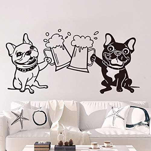Adhesivos Pared Pegatinas de Pared Bulldog Francés Tostado Bebida Cerveza Bar Cocina Bulldogs Mascotas Amigo Alcohol Cerveza Comedor Decoración 112x54cm