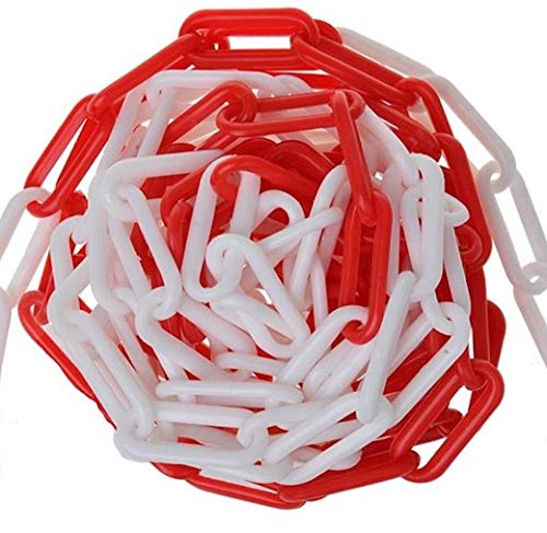 Cadena de plástico rojo y blanco, 5 m