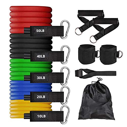 Gikbay Resistance Bands Set, 150Lbs Exercise Bands with Handles for Resistance Training Gym Home Workouts Physical Therapy Fitness Training, Elastic Latex Workout Bands for Men and Women 11Pcs