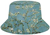 NA Bucket Sombreros (unisex) de ala ancha para exteriores   Senderismo, playa, deportes, diseño único gnomo, Mujer, color Van Gogh Almendra Blossom Art, tamaño talla única