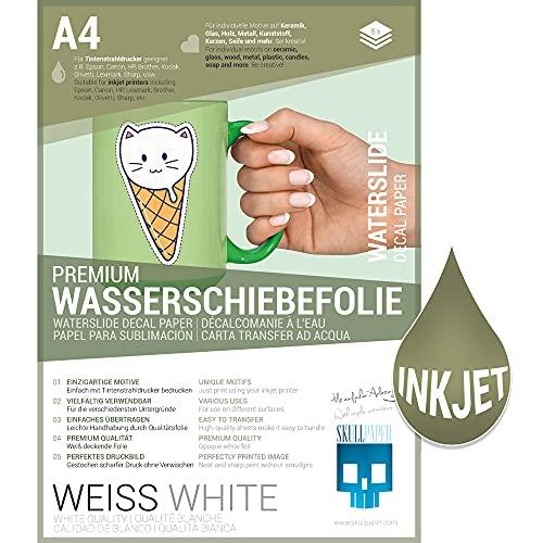 SKULLPAPER Wasserschiebefolie Weiss für Tintenstrahldrucker - hauchdünn DIY Decal Abziehbild - Nassschiebefolie für Keramik, Glas, Kerzen, Metall, Kunststoff, Modellbau (A4-8 Blatt)