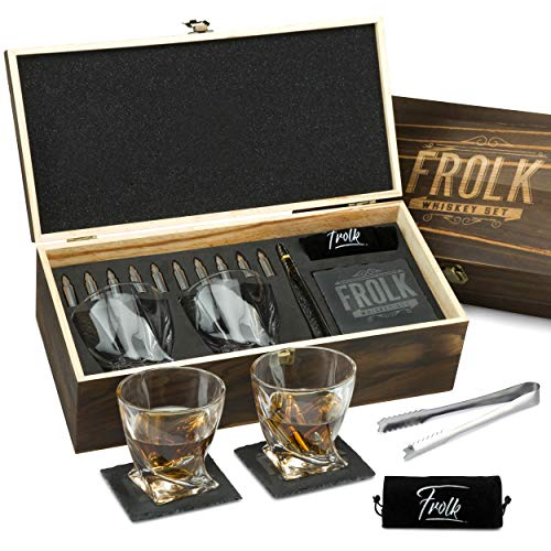 Premium Bullet Sharped Whiskey Stones Gift Set for Men - 10 Bullets Chilling Stainless-Steel Whiskey Rocks - 11 oz 2 Large Twisted Whiskey Glasses, Slate Coasters, Tongs - Premium Set in Pine Wood Box