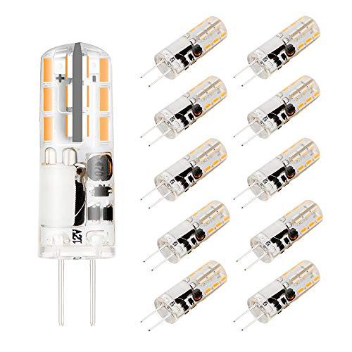 AHEVO G4 LED bombillas 2W 12V AC DC 3000K, reemplaza lámparas halógenas de 15W (paquete de 10, blanco cálido)