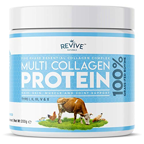 Multi Collagen Protein Powder - 5 Types of Food Sourced Collagen Peptides - Hydrolysed Grass Fed Bovine, Wild Caught Marine & Free-Range Chicken, 200g
