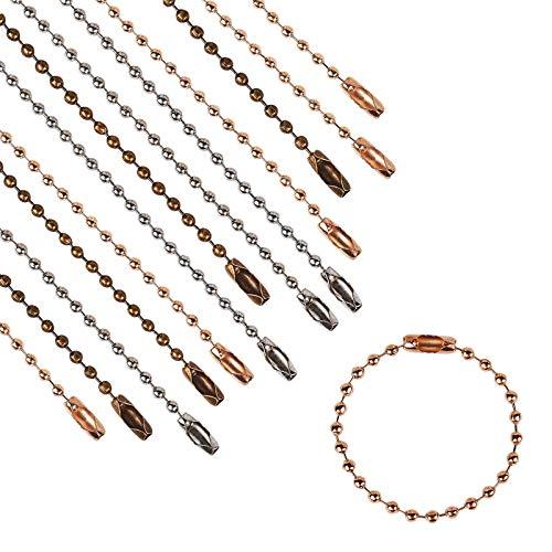 PandaHall 180 cadenas de bolas de 3 colores de 3.7 pulgadas con cierre de conector de cadena de metal con conectores para etiquetas, llavero, hallazgos de joyería, proyectos de manualidades, 2,2 mm