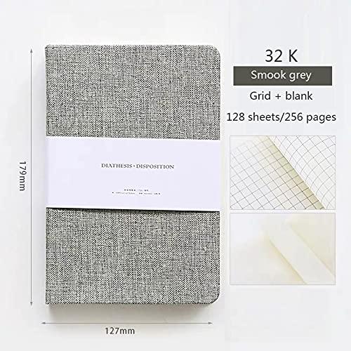 LCJQ Cuadernos de redacción Papel en Blanco y cuadrícula Notebook Tapa Dura 256 Páginas Bullet 80 Planificador periódico Oficina Suministros Escolares Papelería 1pc Papel (Color : Smoke gray-32k)
