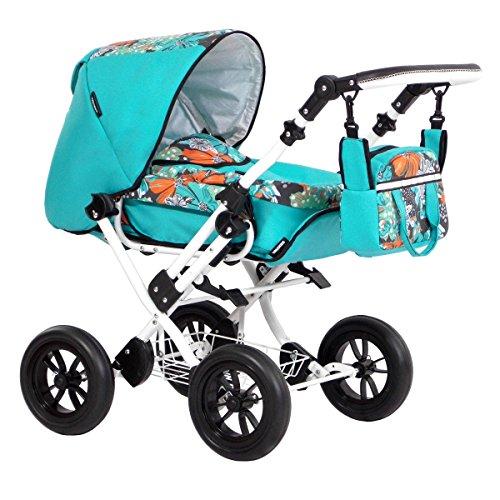 Zekiwa Modell Zeki Elegance , hochmodischer Puppenwagen mit Tragetasche und Fusssackfunktion, Anhängetasche inklusive, Dessin: Hibiskus Mint