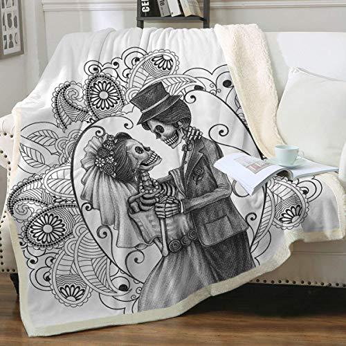 Wild-Rose Sherpa - Manta de forro polar vintage con diseño de mandala y calaveras, suave manta de esqueleto gótico, mantas y mantas para cama, sofá o silla individual, 152 x 203 cm