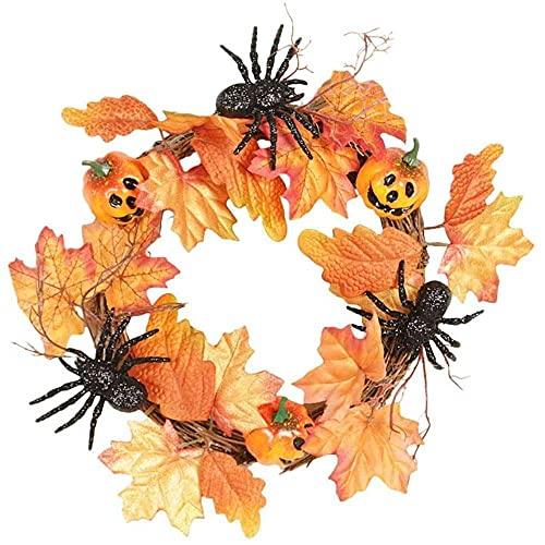 YuKeShop Guirnalda de hojas de arce de araña de calabaza, corona de Halloween, decoración del hogar