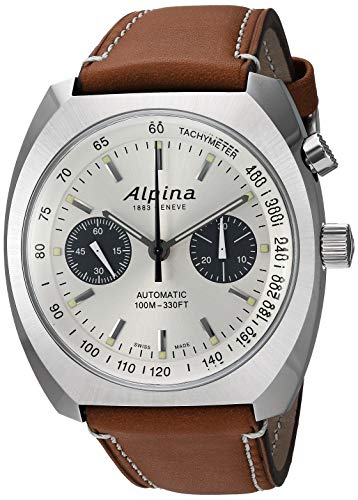 Alpina Men's Startimer Pilot Heritage Stainless Steel Swiss Automatic Aviator Watch with Leather Calfskin Strap, Brown, 23 (Model: AL-727SS4H6)
