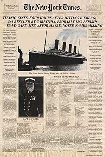 Titanic - Newspaper Zeitung New York Times Film Poster Plakat Druck - Grösse cm