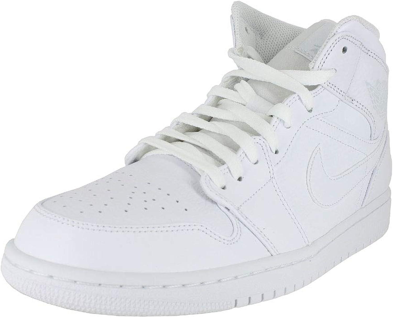 Jordan Mens AIR Jordan 1 MID White Pure Platinum White Size 10