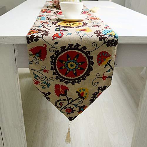 Lwieui Camino de Mesa Elegantes Flores Jacquard Mbroidered Lino algodón arpillera Corredores de Mesa con borlas for la decoración de la Mesa de Comedor (Size : 32x220cm)