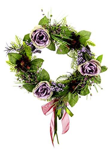 Flair Flower Kranz Rosen/Gerbera, Natur, Polyester, Kunststoff, Mauve, 34 x 34 x 8 cm