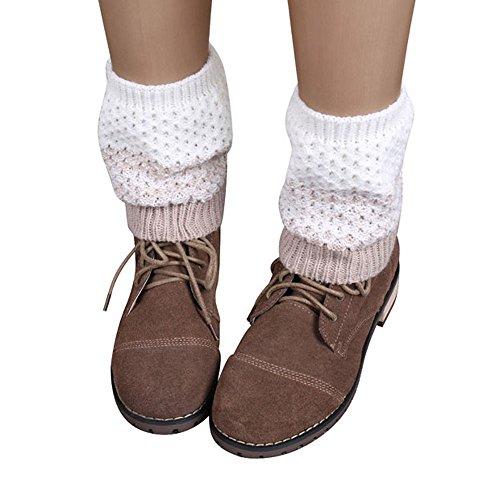 KPILP 1 Para Frauen Stulpen Jacquard Gestrickte Bein Bootssocken Winter Warmers Socken Boot Cover Winter Herbst Freizeitsocken Strumpfhose,Beige
