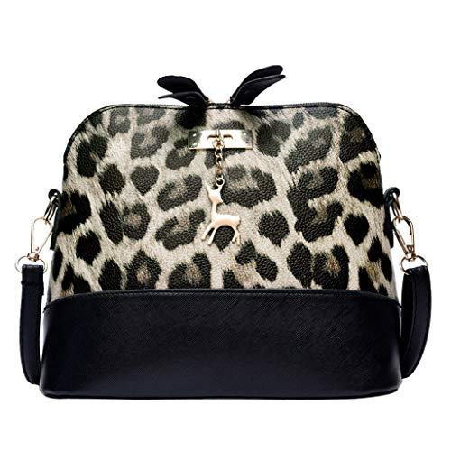 Dorical Umhängetasche Damen Vintage Leopard Messenger Tasche Mädchen mit Verstellbarem und abnehmbarem Schultergurt, Handtasche Umhängetasche Schultertasche Shopper Henkeltasche(Braun)