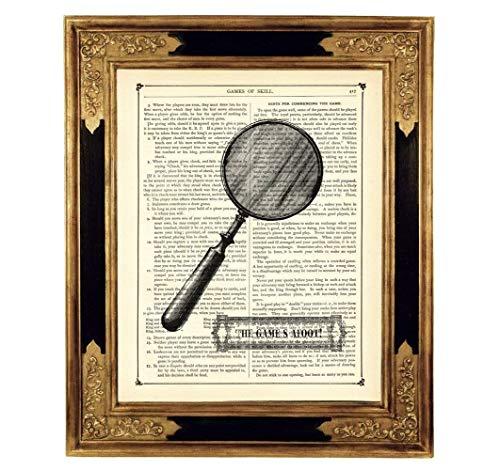 Sherlock Holmes Lupe Detektiv The Game's Afoot Poster Druck Kunstdruck auf antiker Buchseite Geschenk für Frauen Männer Geburtstag Steampunk ungerahmt