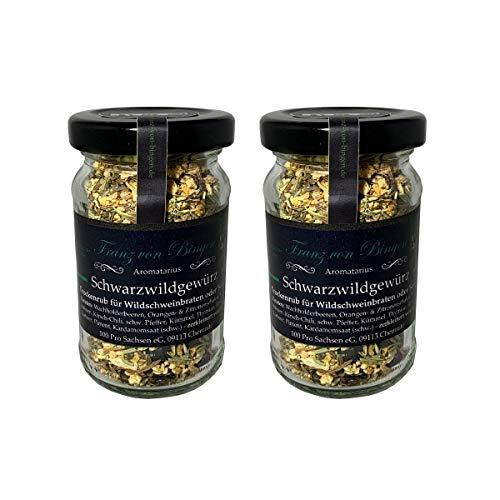 Franz von Bingen - 2er Set Schwarzwildgewürz / Wildgewürz zum Braten vom Schwarzwild / Wildschwein - (2 x 40g) mit Kaffee verfeinert - Gewürzmanufaktur