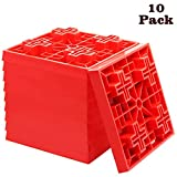 yosager 10 Pack Heavy Duty Leveling Blocks, Ideal for Leveling Single and Dual Wheels, Camper Levelers, Tongue Jacks, Hydraulic Jacks, Stabilizer Jacks, Red