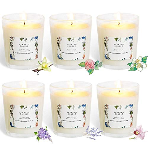 ZLNB Jasmine Candle Gift Natural Soy Candle, 6 Fragrance Candles 100% Soy Wax Glass Family Set Gift, Give Mom, Girlfriend's Best Gift (Color : White)