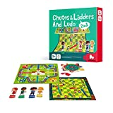 KingMade 2 in 1 Chutes & Ladders Board Game and Ludo Chess Board Game, Classic Board Games, Board Games Kids, Board Games for Family Night