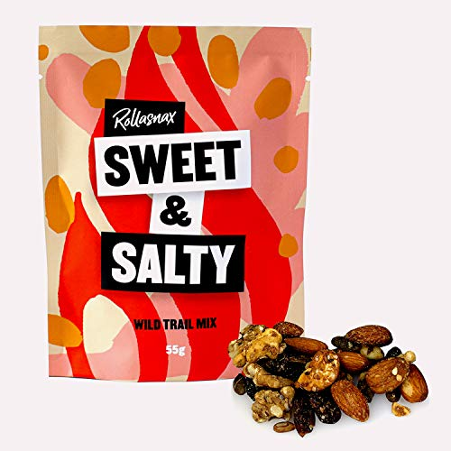 Rollasnax: Sweet & Salty Wild Trail Mix | High Energy | 100% Natural Healthy Snack | Gluten & Cereal Free | No Refined Sugar | Handcrafted in The UK | 10 x 55g Pack