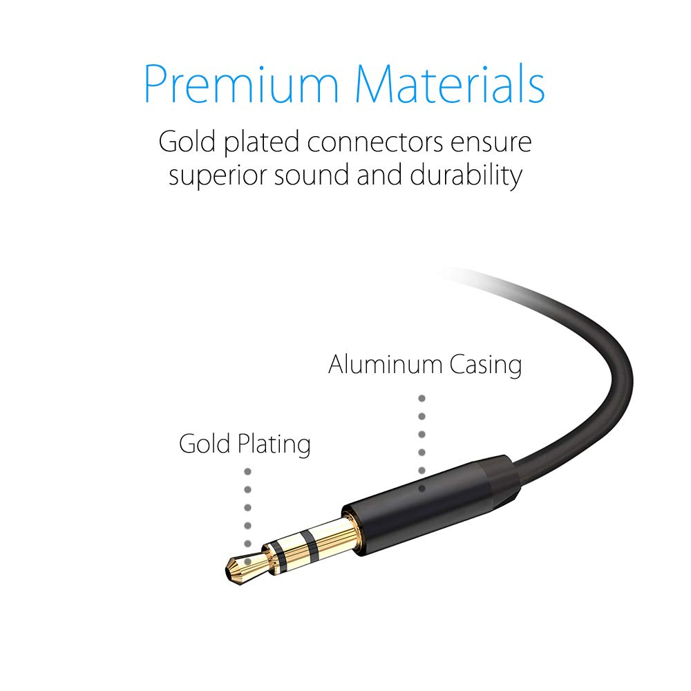 noot products 3.5mm Aux Cable Cord Male to Male Auxiliary Audio Cable 6FT Long for Headphones/Home/Car Stereos/Smartphones/Tablets
