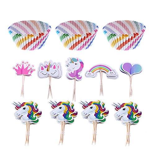 LOKIPA 100 Cupcake-Förmchen im Regenbogenstil und 44 Einhorn-Cupcake-Aufsetzer als Zubehör für...