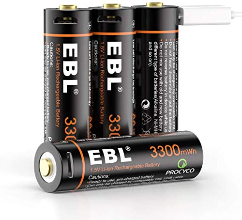 EBL 1.5V Lithium AA Rechargeable Batteries 3300mWh with Micro USB Cable, 1200 Cycles 4 Counts in One Storage Case