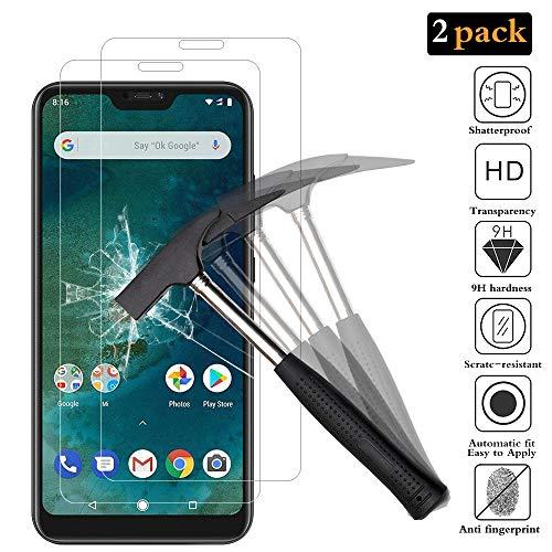ANEWSIR [2 Pack Protector de Pantalla para Xiaomi Mi A2 Lite, Xiaomi Mi A2 Lite Cristal Templado, Protector Pantalla de Vidrio Templado para Mi A2 Lite [Ultra-Transparente] [Resistente a Arañazos].