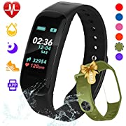 beitony Fitness Tracker,Color Screen Activity Tracker Watch Blood Pressure Blood Oxygen, IP67 Waterproof Smart Band Heart Rate Sleep Monitor Calorie Counter Pedometer Men, Women Kids