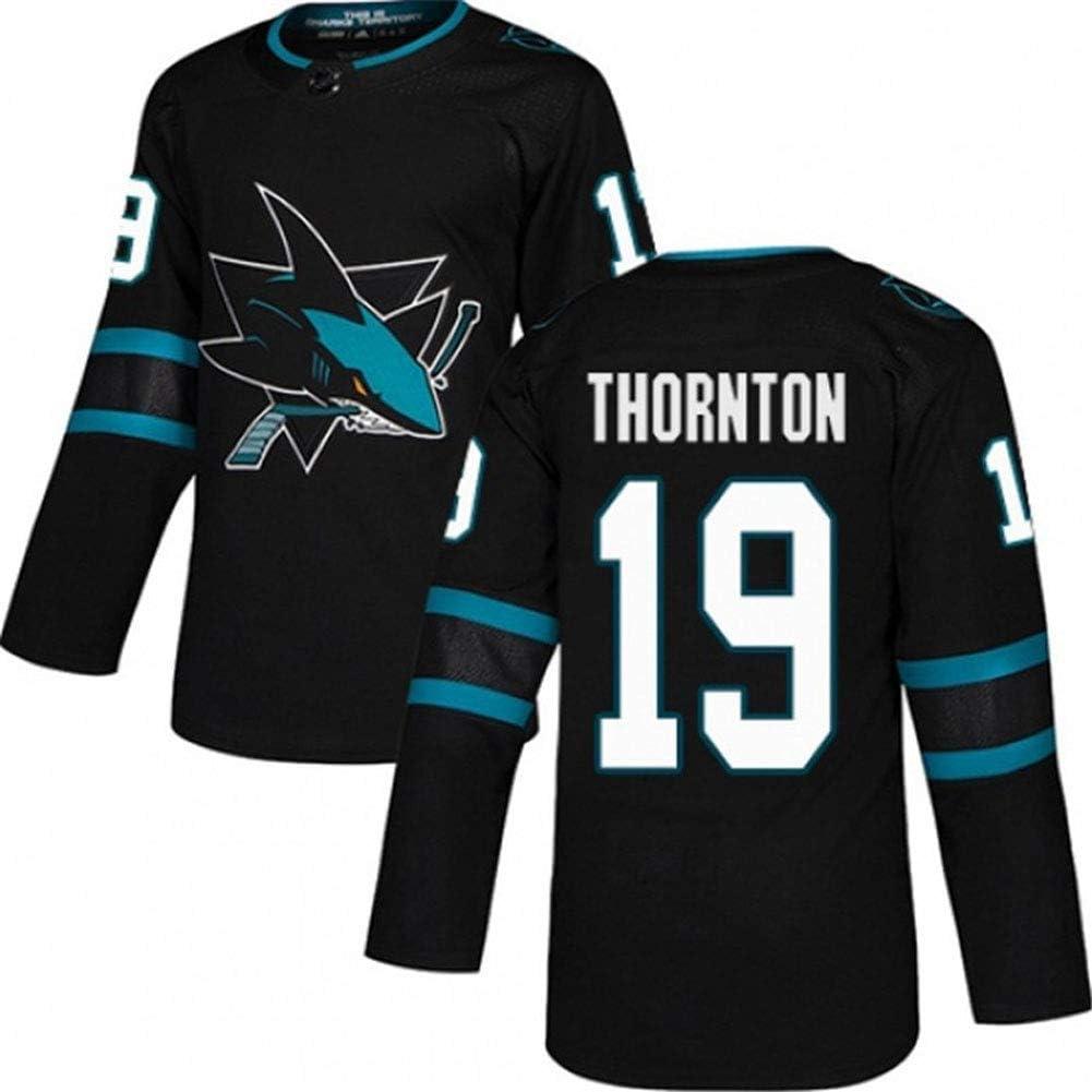 Thornton # 19 Sharks Ice Hockey Camiseta de Manga Larga para Hombre Jersey de Hockey sobre Hielo Equipo de competici/ón Sudadera Entrenamiento Ropa Real Jersey S-XXXL
