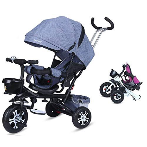 4-en-1 de los niños del triciclo plegable triciclo bebé Toldo ajustable, plegable del ABS Pedales, bolsa de almacenamiento, esponja barandas, con amortiguador de ruedas, triciclo for niños 1-6 años